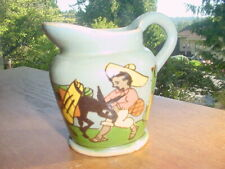 OLD CHARMING MEXICAN FOLK ART POTTERY PITCHER BOY WITH BURRO