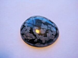 Snowflake Obsidian Free form Oval Cabochon Cut 21x18 mm 13.5 Cts Natural Gem B1