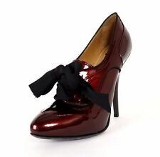 LANVIN Metallic Red Patent Leather Black Ribbon Lace Oxford Booties 38.5