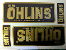 4x Ohlins BLACK & GOLD Decals Stickers Suspension, Bike, Shock, motorcycle STUNT