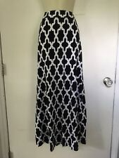 NWT Crown & Ivy Navy Blue White Trellis Jersey Maxi Skirt Stretchy Small S