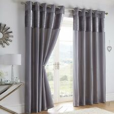 BOULEVARD DOVE GREY 66 x 90 READY MADE RING TOP EYELET CURTAINS CRUSHED VELVET