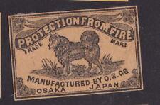 Ancienne étiquette allumette Japon BN50457 Chien