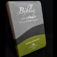 """Biblia Reina Valera 1960 de Estudio Esquematizada Piel Duotono """"Personaizada"""""""