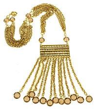 VINTAGE GOLDETTE EGYPTIAN REVIVAL OPEN BACK FAUX TOPAZ CRYSTAL FRINGE NECKLACE
