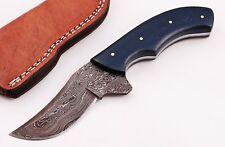 Custom Raindrop Twist Damascus Steel Skinner Knife B15 With Real Leather Sheath
