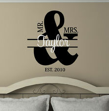 Mr. & Mrs.Personlized  Vinyl decals wall words stickers decal quotes wedding