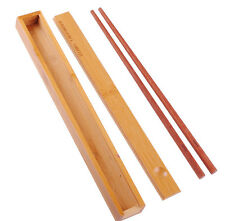 Personalized Engraved Rectangle Wooden Chopstick Box with 2 Pcs Chopsticks
