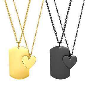Fashion Heart-Shaped Tag Puzzle Matching Stainless Steel Couple Pendant Necklace