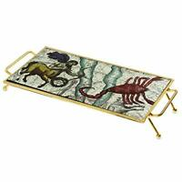 Astrology Gold Glass Serving Tray With Metal Frame - For Food, Snacks, Breakfast