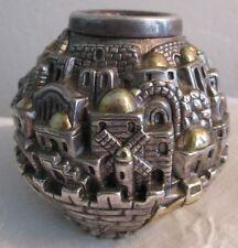 Sterling Silver Shabbat Jerusalem Candlesticks Holder Gold Highlights