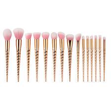 15 piezas unicornio Maquillaje Sombra de ojos Brochas cosmético kit para polvo
