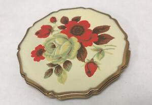 "Vtg 1950s Stratton England Loose Powder Compact Gold Tone Floral/Mandala 3"""