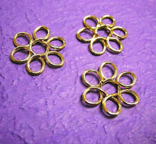 10pc gold finish flower shape wired beads-2278