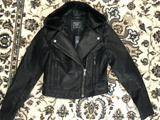 Abercrombie & Fitch Faux Leather Moto Jacket Full Zip Women Size XS Black Fur