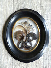 LARGE & SUPERB ANTIQUE FRENCH SENTIMENTAL MOURNING HAIR ART 1880's  ( #8 )