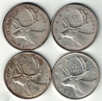 4 X CANADA 25 CENTS QUARTERS KING GEORGE VI SILVER COINS 1947 - 1950