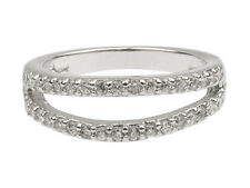 Sterling Silver Two Strand Ring Inset with Multi CZ  925 Size P