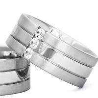 Silber 925 Trauringe Eheringe Verlobungsringe mit Gravur und Swarovski Stein B3
