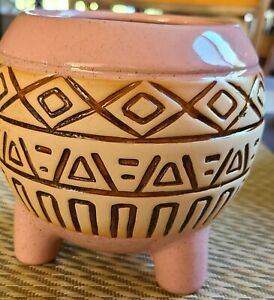 Pottery Flower Pot with 3 Feet Indoor Outdoor Pink Decor. Great For Succulents!