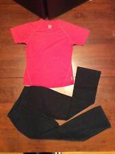 Girls Black Lands End Leggings S10/12 and Red Equarea Shirt