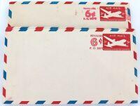.JOB LOT 28 c1950s US AIR MAIL 5C REVALUED 6C PREPAID UNUSED ENVELOPES / STAMPS.