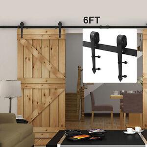 6FT Sliding Barn Wood Door Hardware Steel Slide Closet Rail Track Set Kit New