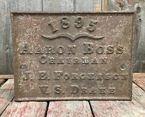 Primitive Antique 1895 Cast Iron Builders? Industrial?Bridge? Plaque Sign