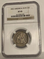 1853 25C Arrows and Rays Liberty Seated Quarter