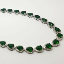 White gold finish green emerald and created diamonds Necklace gift boxed