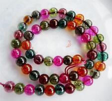 "Natural 6mm Multicolored Round Tourmaline Gemstone Loose Beads 15"""