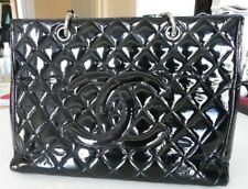 Authentic Chanel Black Quilted Patent Leather Shopping Tote Bag