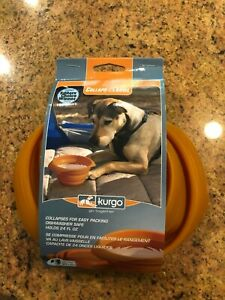 Kurgo Collaps-A-Bowl Dog Cat Pet Travel Portable Water Food Bowl - Orange