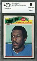 1977 topps #167 CHARLIE JOINER san diego chargers (50-50 CENTERED) BGS BCCG 9