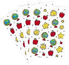4 Sheets School Stickers! GLOBE World Apple Shining Star