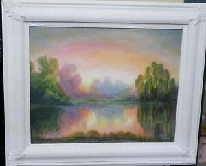 "ORIGINAL ~ Paul Hamilton ~ ** BLUE LAGOON ** ~ 36.5"" x 30.75"" Painting ~ FRAMED"