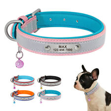 Soft Padded Leather Personalized Small Dog Collar with Custom Engraved Nameplate