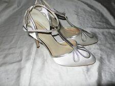 UK3.5 AVORIO RASO/Scarpe da cerimonia argento molto 1920s/1930s stile vintage