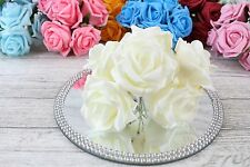 1 Bunch Colourfast Foam Rose Bouquet Wedding Artificial 6 Flowers 35 Colours 5cm Ivory/ivory With Ivory Stems