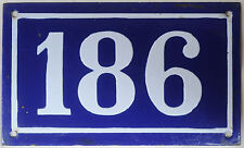 Large old French house number 186 door gate plate plaque enamel steel metal sign