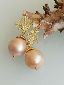 Orecchini  pendenti perle barocche rosa e corallo argento 925