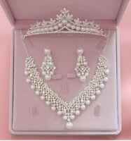 Wedding Jewelry Set Pendants Necklace Earrings Fashion Crystal Bridal Rhinestone