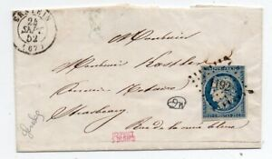 1852 FRANCE COVER 25c CERES FIRST ISSUE STAMP, RARE ERSTEIN CANCEL !!
