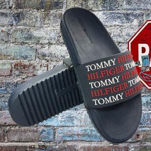 NWT TOMMY HILFIGER AUTHENTIC MEN'S BLUE NAVY CLEAR SLIP ON SLIDES SANDALS