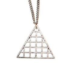 Icon Brand Equilibrium Triangle Balance Metal Pendant Long Necklace Silver
