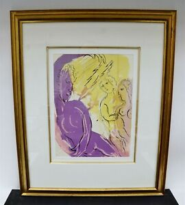 """1956 Marc Chagall """"Angel of Paradise"""" Framed Lithograph Print 25x21"""" C1441"""