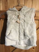 "Fake Fur Girls Gilet By Next Kids Age 3/4 Years Cream White Fur Chest 22"" Hooded"