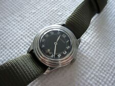 Vintage Longines Tre-Tacche mens watch military style black dial Swiss runs