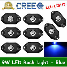 8PCS CREE 9W LED Rock Light Pods BLUE Offroad Trail Jeep Wranger Truck ATV 4X4WD