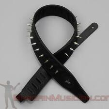 Leather Guitar / Bass Strap - With Spikes - Adjustable Sizing